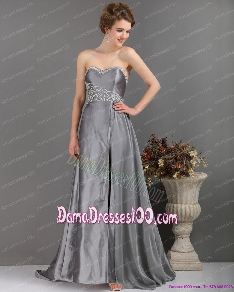 Brush Train Sliver Fabulous Dama Dresses with Appliques and High Slip