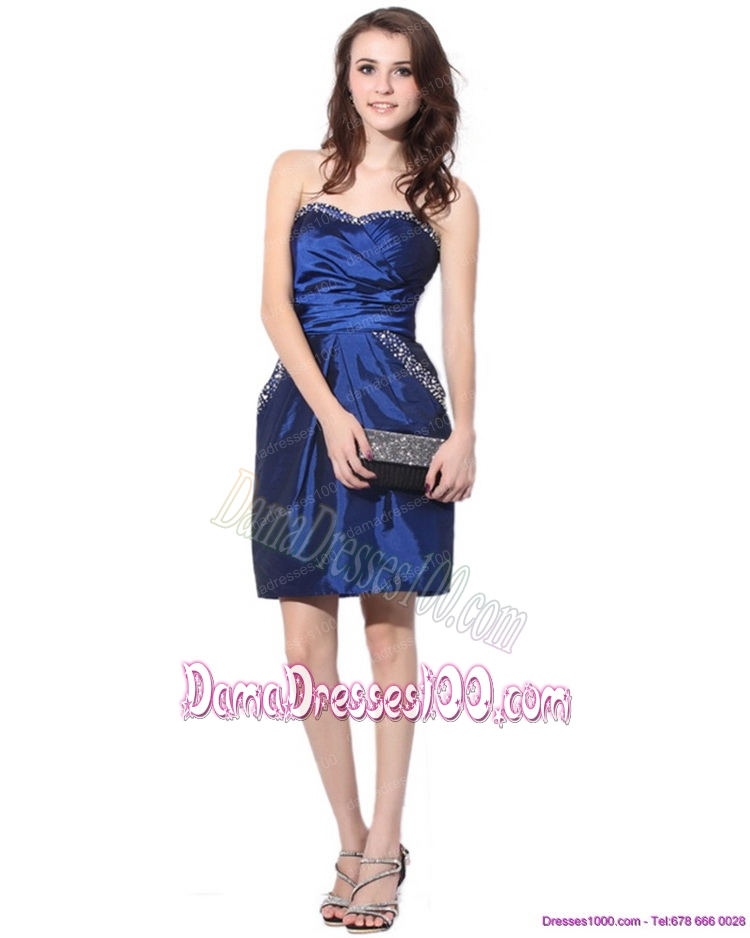 Navy Blue Sweetheart Plus Size Dama Dresses with Ruching and Beading