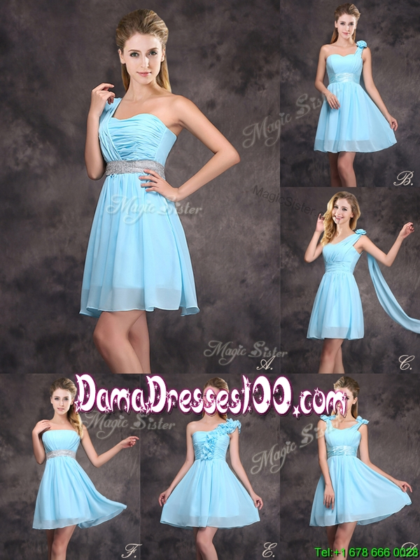 Best Selling Baby Blue Mini Length Dama Dress with Ruching