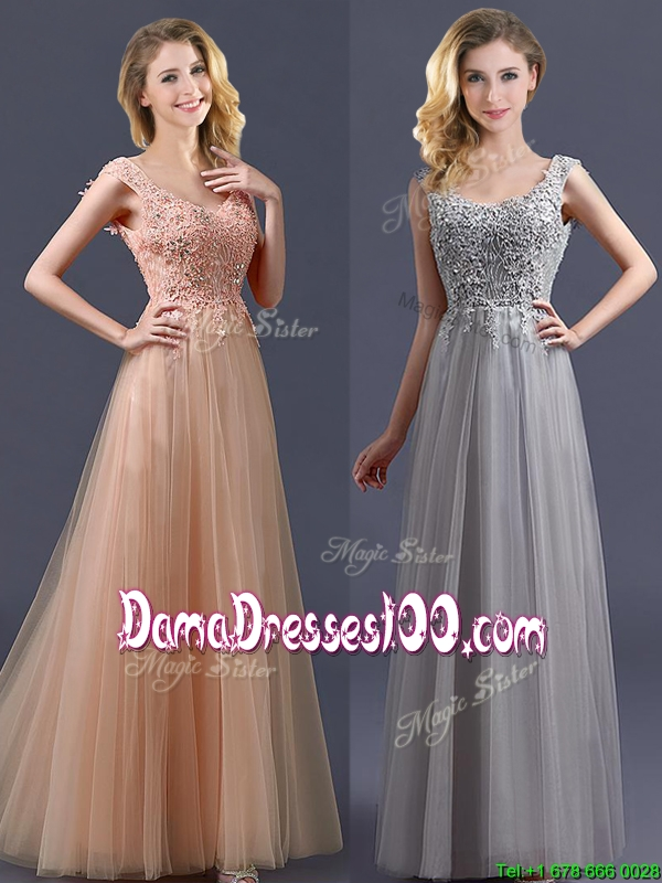 New Arrivals Empire Floor Length Dama Dress with Appliques