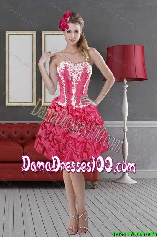 Hot Pink Sweetheart 2015 Pretty Dama Dresses with Pick Ups and Embroidery