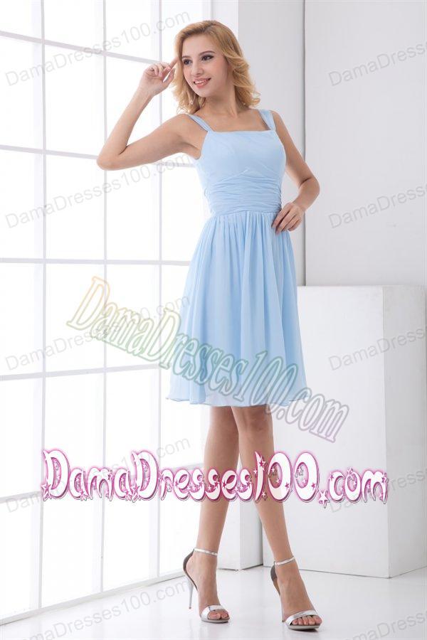 Baby blue knee length dresses