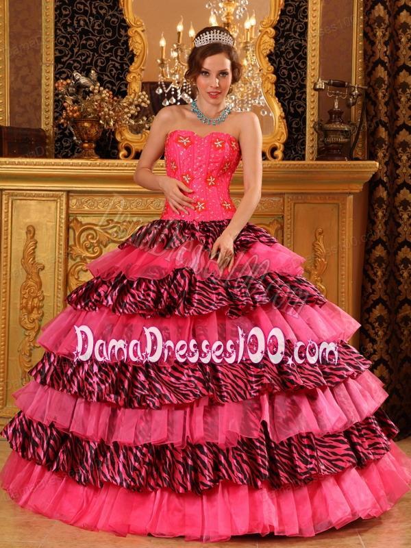 ceeb58f93e9 Beautiful Ball Gown Sweetheart Floor-length Organza and Zara Beading Hot  Pink Quinceanera Dress