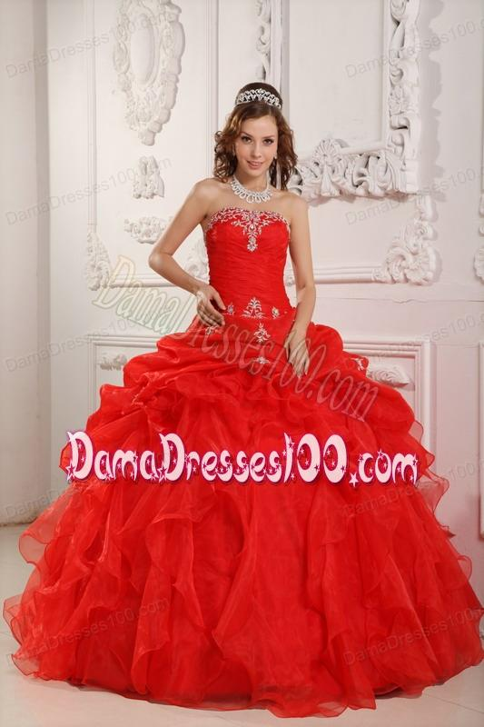 Red Ball Gown Strapless Floor-length Organza Beading And Ruffles Quinceanera Dress