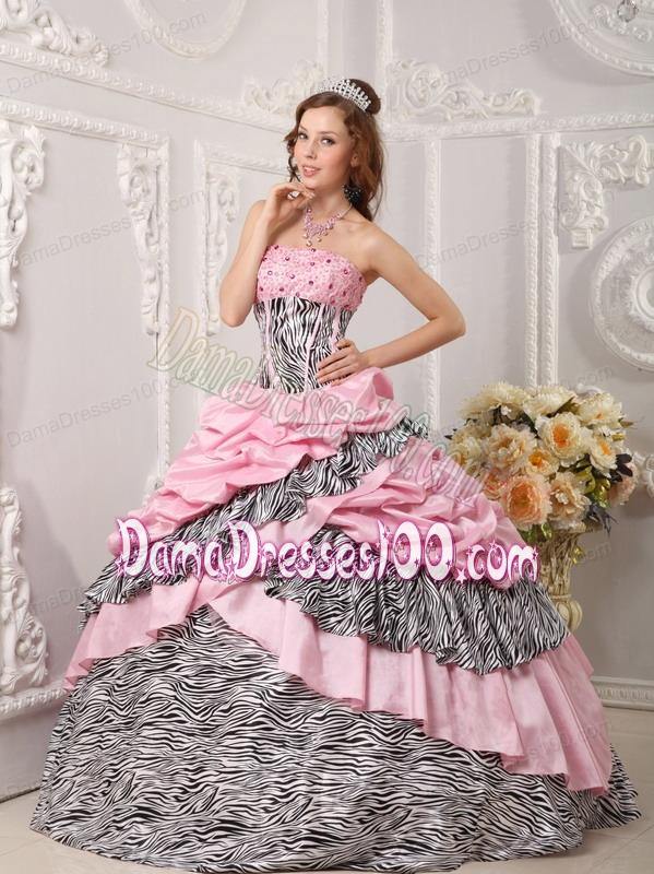 Romantic Ball Gown Strapless Floor-length Taffeta and Zara Beading Pink Quinceanera Dress