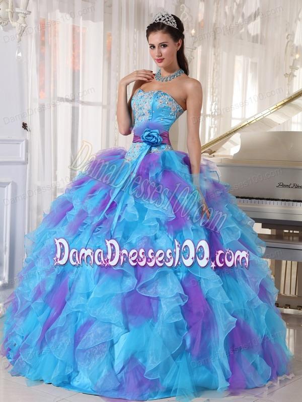661faf5e9fd ... Ball Gown Strapless Floor-length Organza Appliques Quinceanera Dress.  triumph