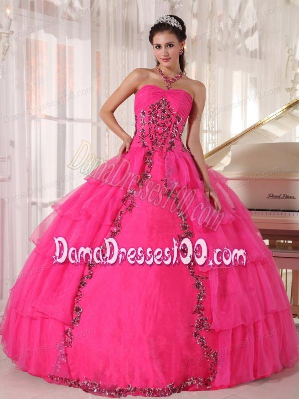 7f239fdb3e6 Hot Pink Ball Gown Sweetheart Floor-length Organza Paillette Quinceanera  Dress. triumph