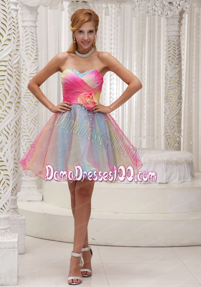 Lovely Ombre Color Prom Dress For 2014 Organza With Hand Made Flower