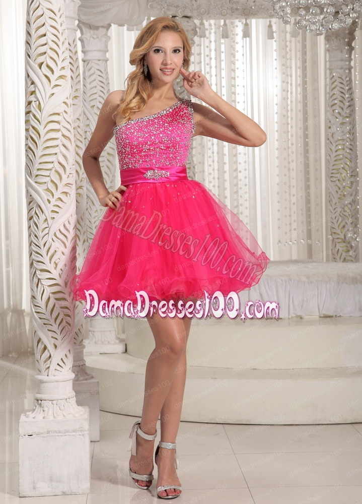 One Shoulder Beaded Decorate Bust Sweet Hot Pink Dama Dress