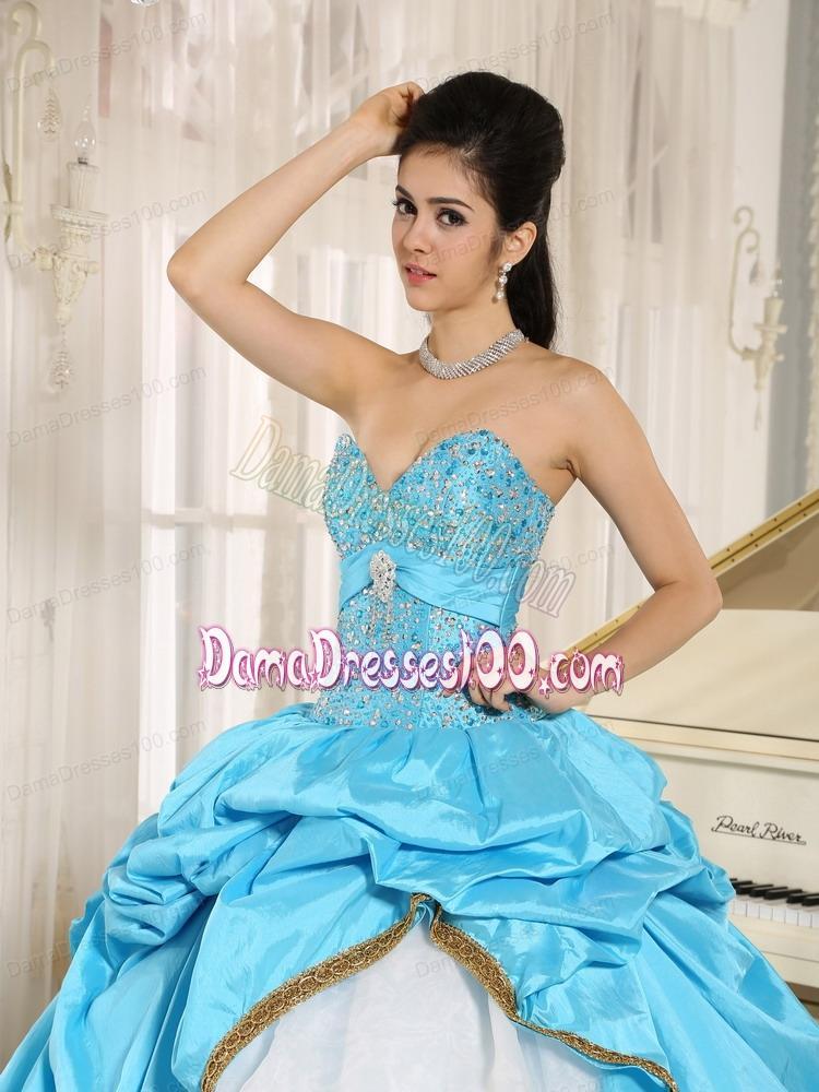 f2d129453f Sweetheart Beaded and Pick-ups For Aqua Blue and White Quinceanera Dress  Ruffled Layers In Kailua-Kona City Hawaii