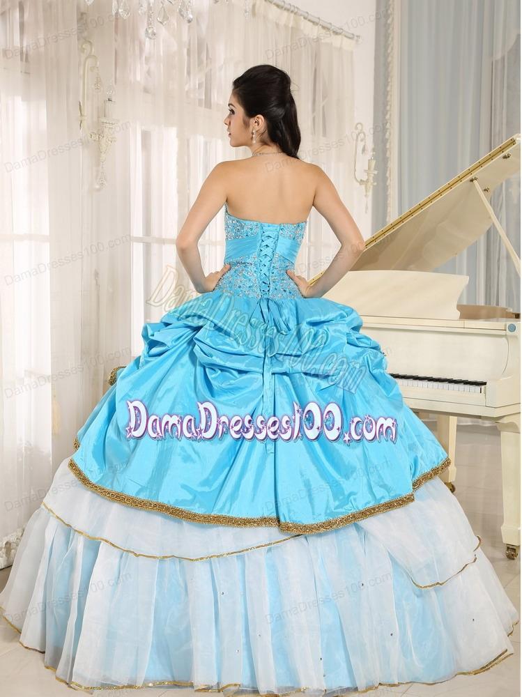 0bf8859eea7 Sweetheart Beaded and Pick-ups For Aqua Blue and White Quinceanera Dress  Ruffled Layers In Kailua-Kona City Hawaii