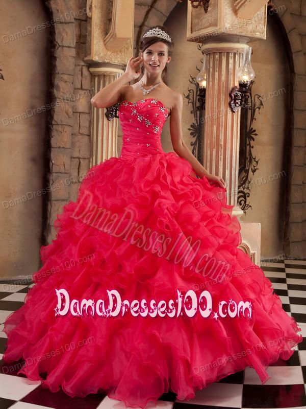 Coral Red Ball Gown Sweetheart Floor-length Ruffles Organza Quinceanera Dress