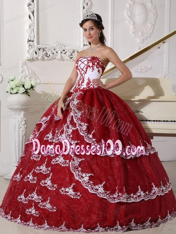 57713b21196 ... White Ball Gown Strapless Floor-length Organza Appliques Quinceanera  Dress. triumph