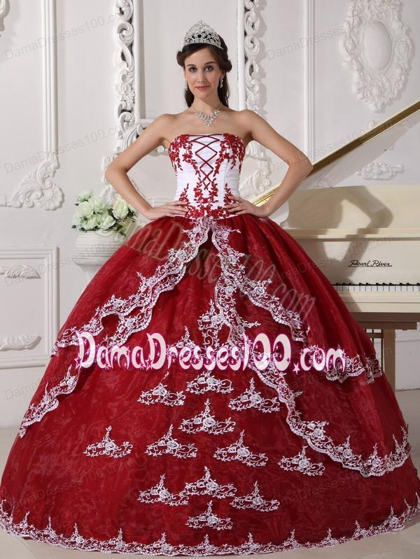 3c17a99293 Wine Red and White Ball Gown Strapless Floor-length Organza Appliques Quinceanera  Dress