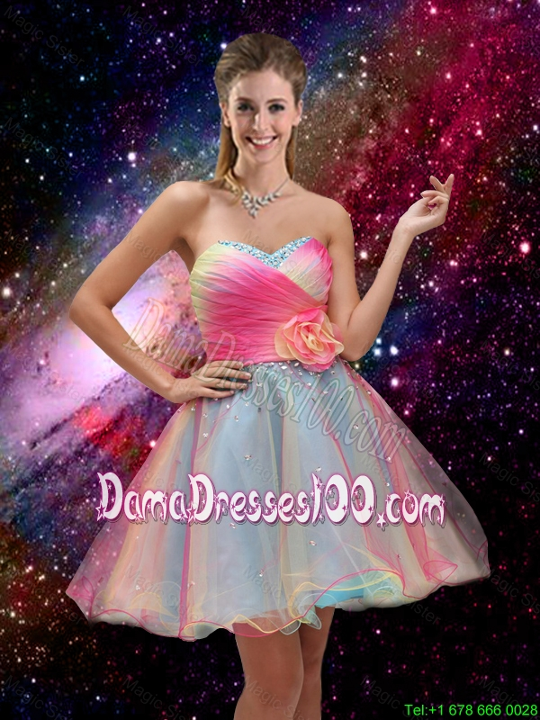 2016 New Style A Line Hand Made Flower and Beaded Dama Dresses in Multi Color