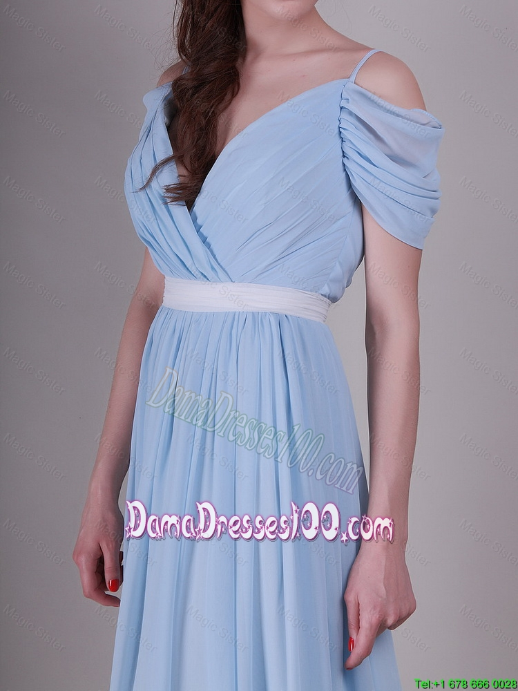 2016 exclusive spaghetti straps light blue dama dresses