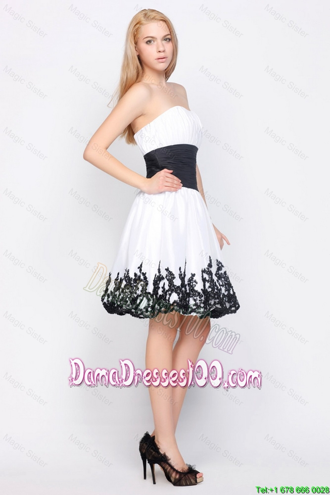 cute strapless short dama dresses with belt and appliques