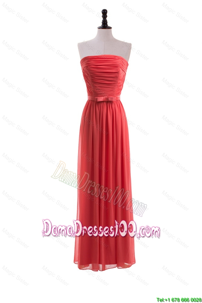 Custom Made Empire Strapless Belt Dama Dresses for Graduation