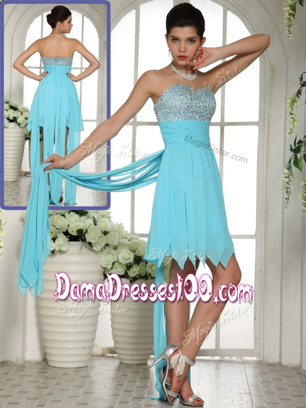 2016 Perfect Sweetheart Beading and Paillette Aqua Blue Dama Dress