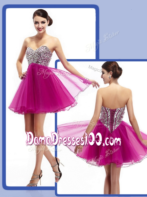 2016 Perfect Sweetheart Fuchsia Short Dama Dresses with Beading