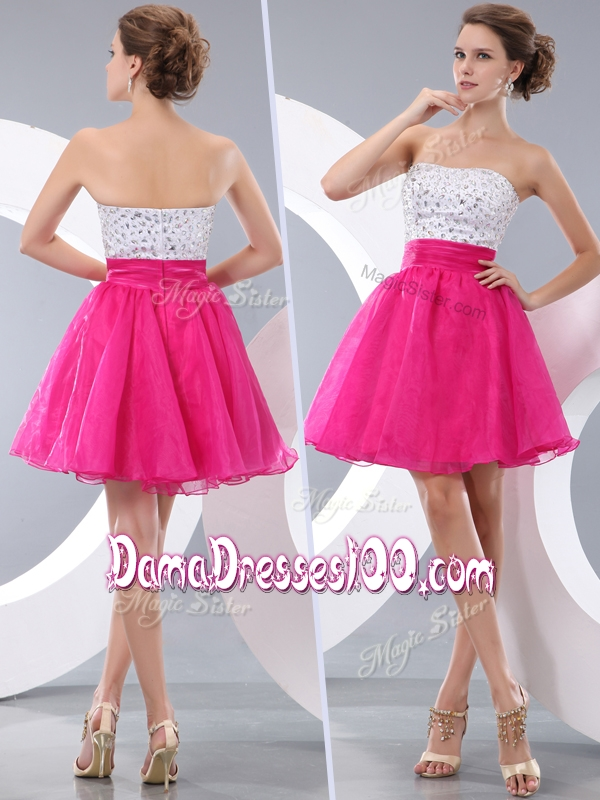 Lovely Princess Strapless Short Affordable Dama Dresses with Beading