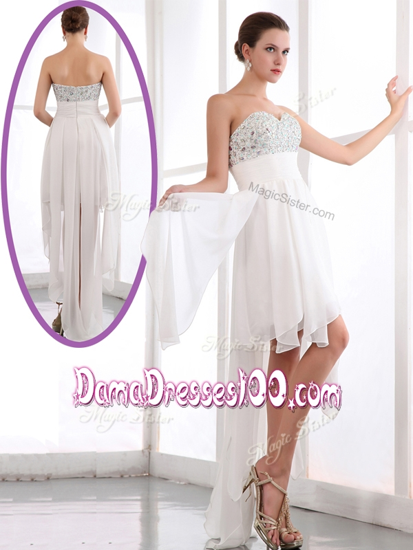 Most Popular Sweetheart High Low Beading Affordable Dama Dresses in White