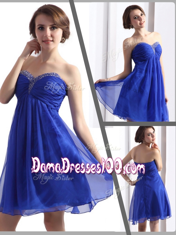 Perfect Sweetheart Beading Short Affordable Dama Dresses in Blue