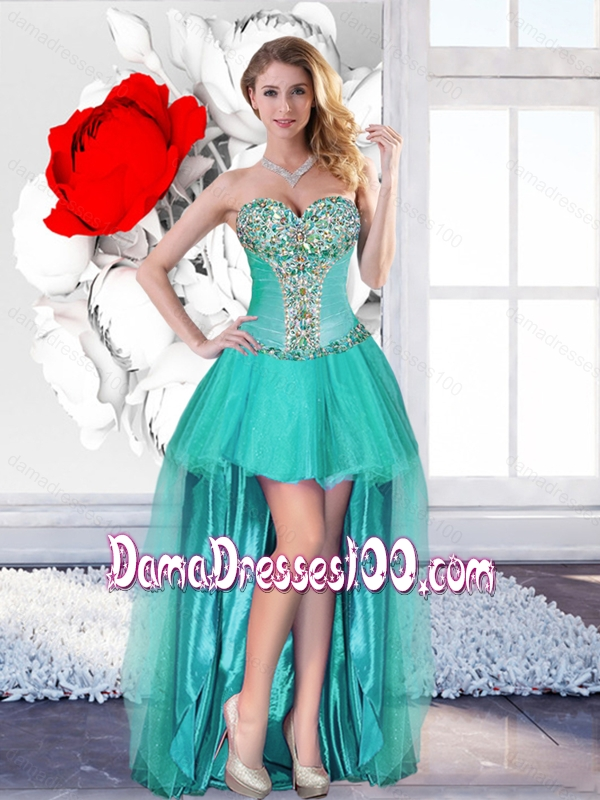 2016 Sweet Beaded Turquoise Dama Dresses with High Low
