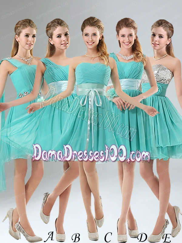 2015 A Line Ruching Lace Up Dama Dress in Aqua Blue