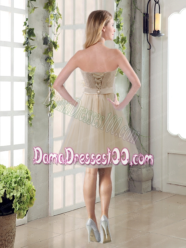Handmade Flower Strapless Lace Dama Dress with Mini Length