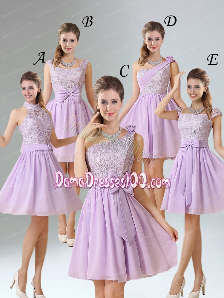 2015 Chiffon Dama Dress with Ruching Bowknot