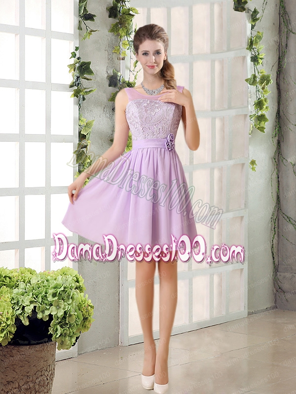 Perfect Dama Dress Ruching with Hand Made Flower in Lilac