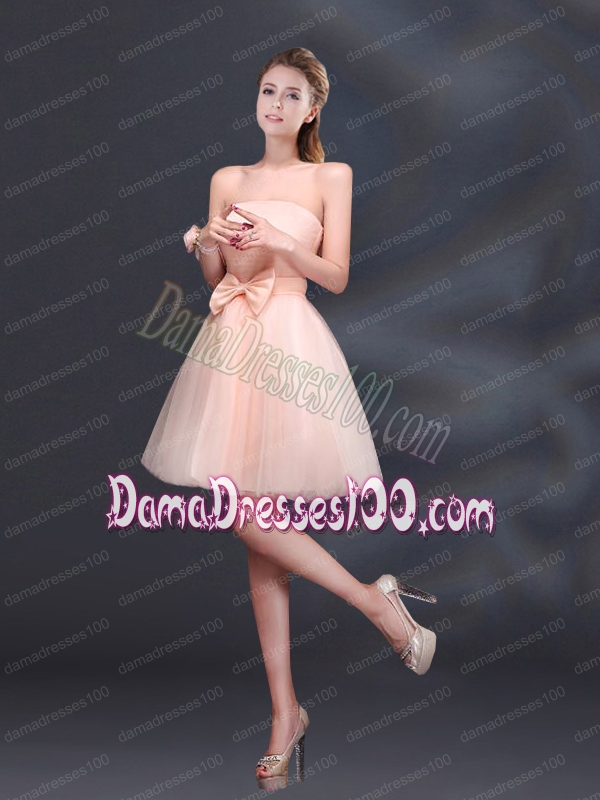2015 Bowknot A Line Strapless Dama Dress with Lace Up