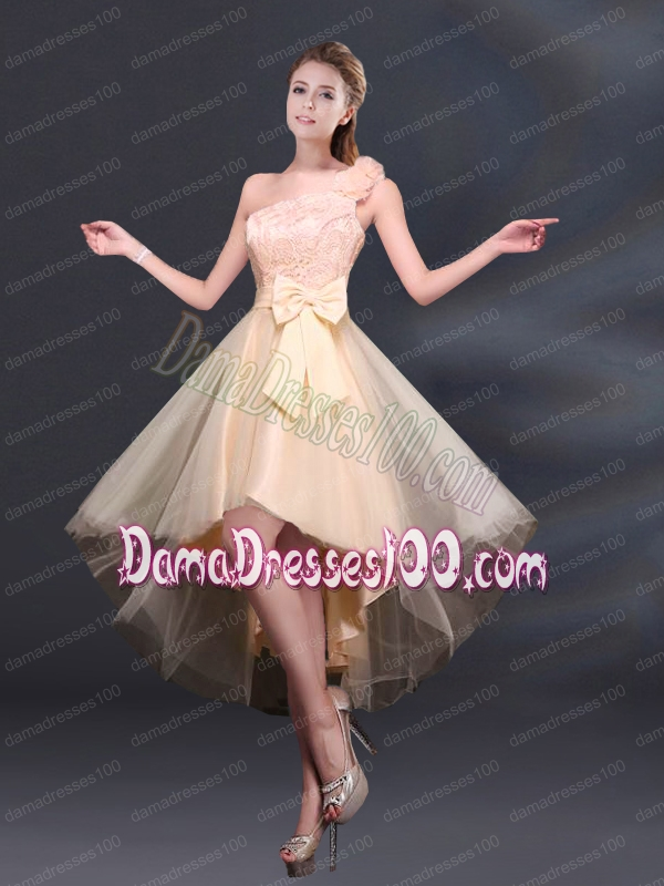 2015 Bowknot High Low Lace Up Dama Dress with One Shoulder