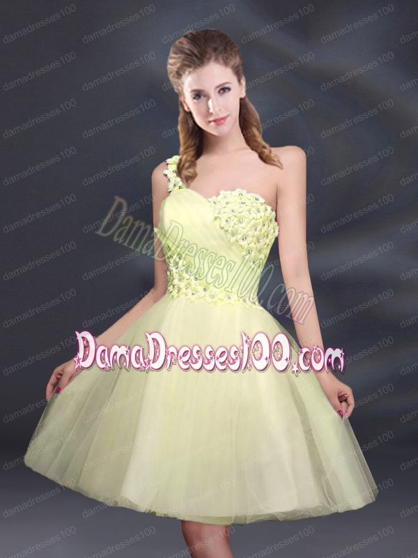 Sweet One Shoulder A Line Appliques 2015 Dama Dress