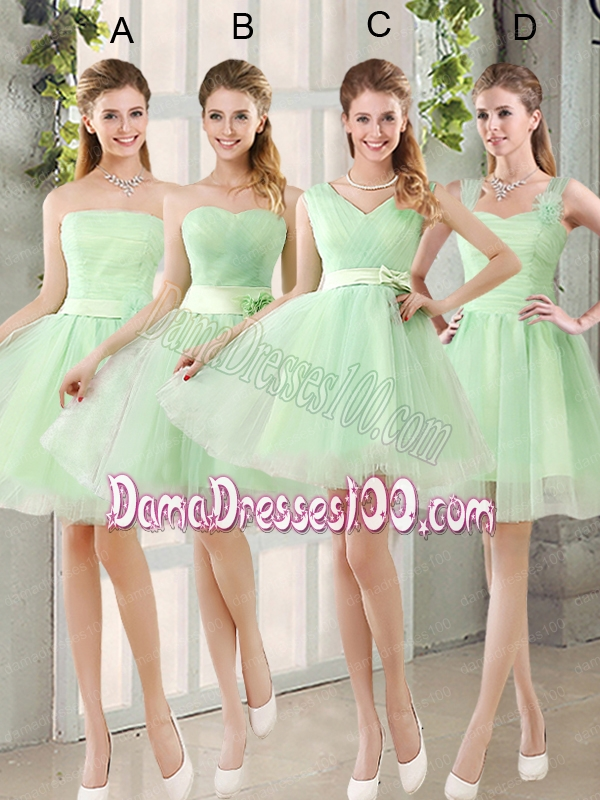 A Line Sweetheart Lace Up Dama Dress in Apple Green