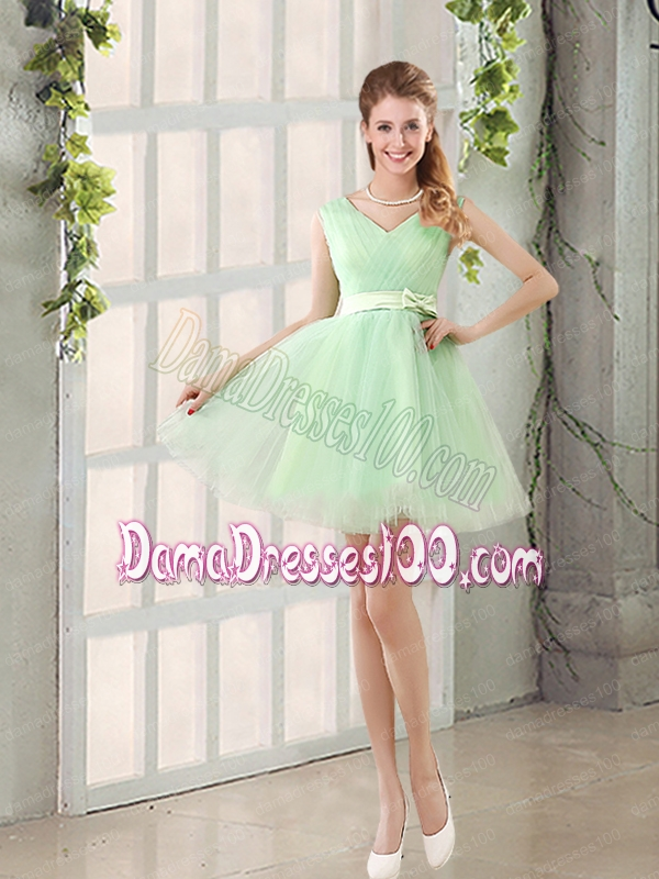 Ruching Organza A Line Mini Length Dama Dress with Lace Up