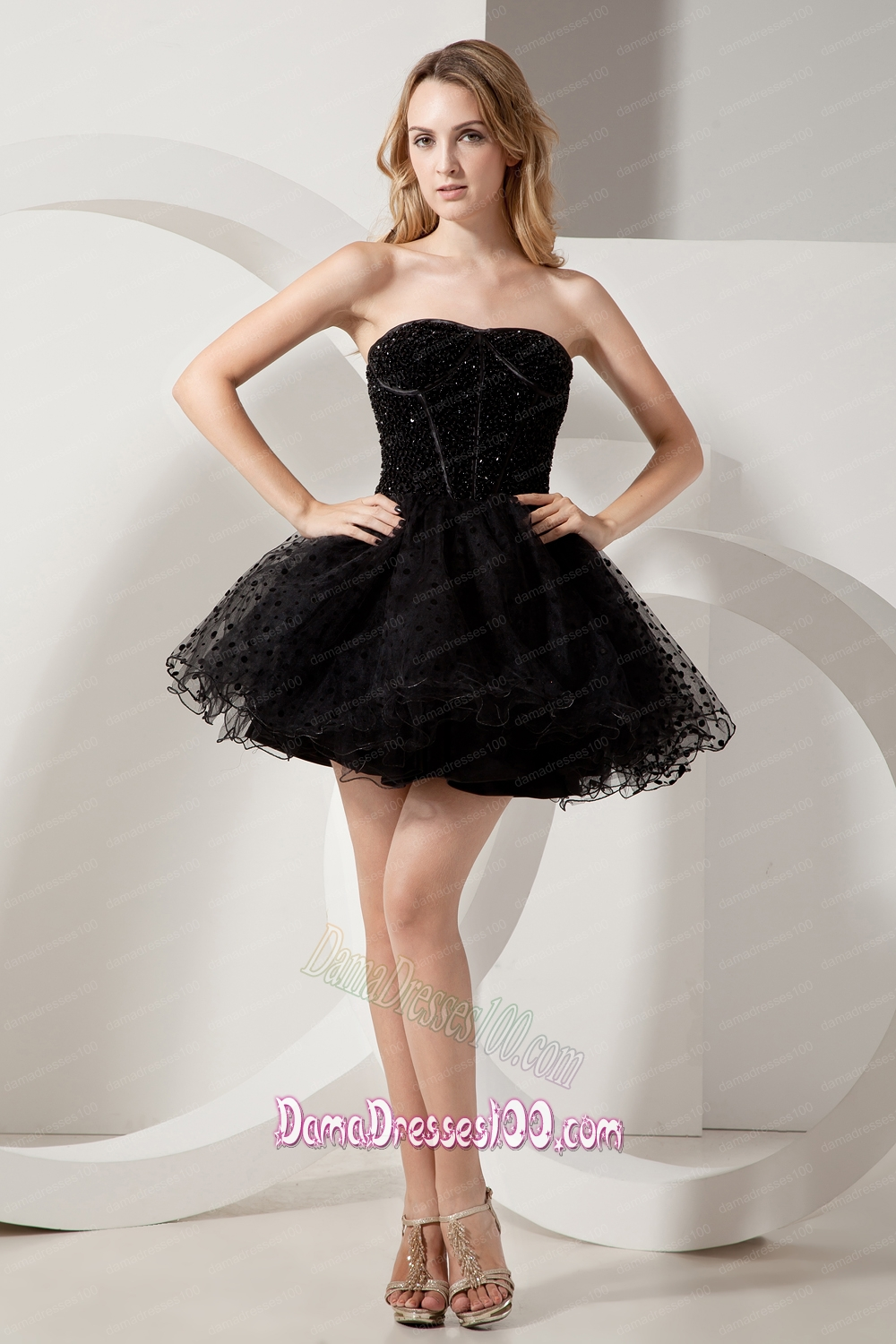 Black Strapless A Line Dress