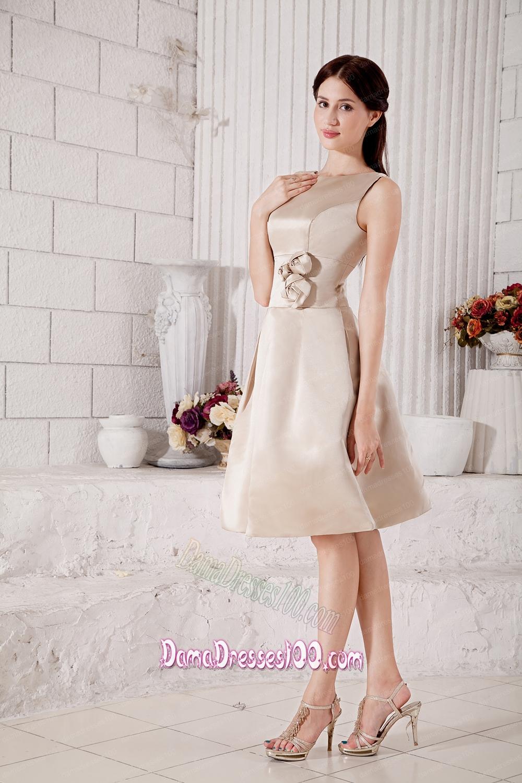 champagne satin knee length dress