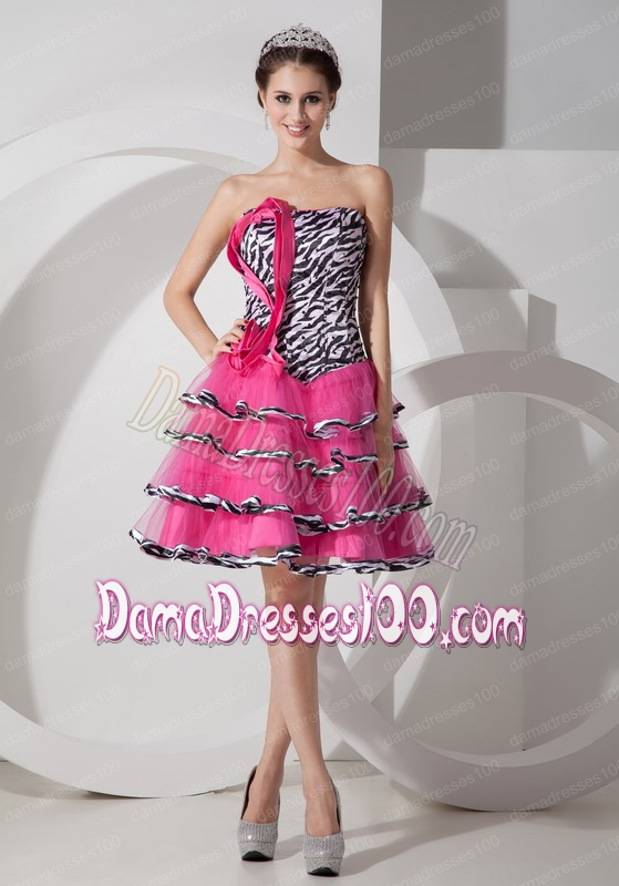 Zebra Hot Pink A-line Strapless Layered Organza Dama Dress
