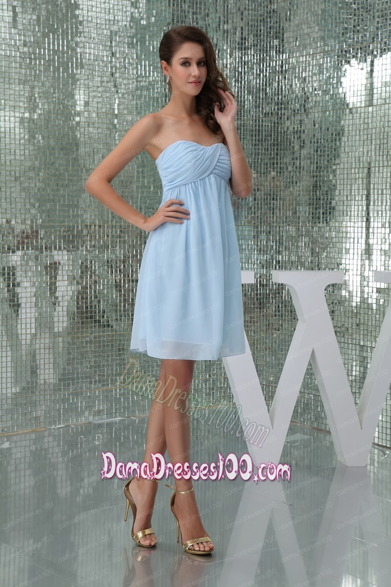 7426b237d3a2 Sweetheart Ruched Baby Blue Knee-length Dama Dress for Girls