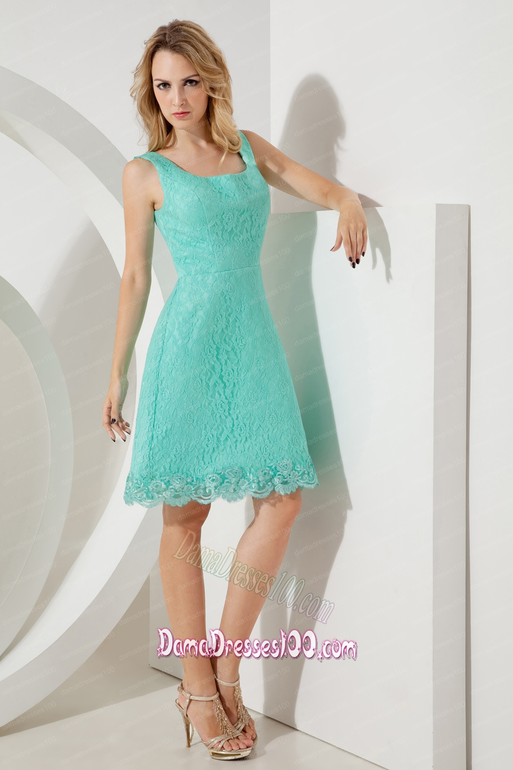 Turquoise A-line / Pricess Square Dama Dress Mini-length Lace