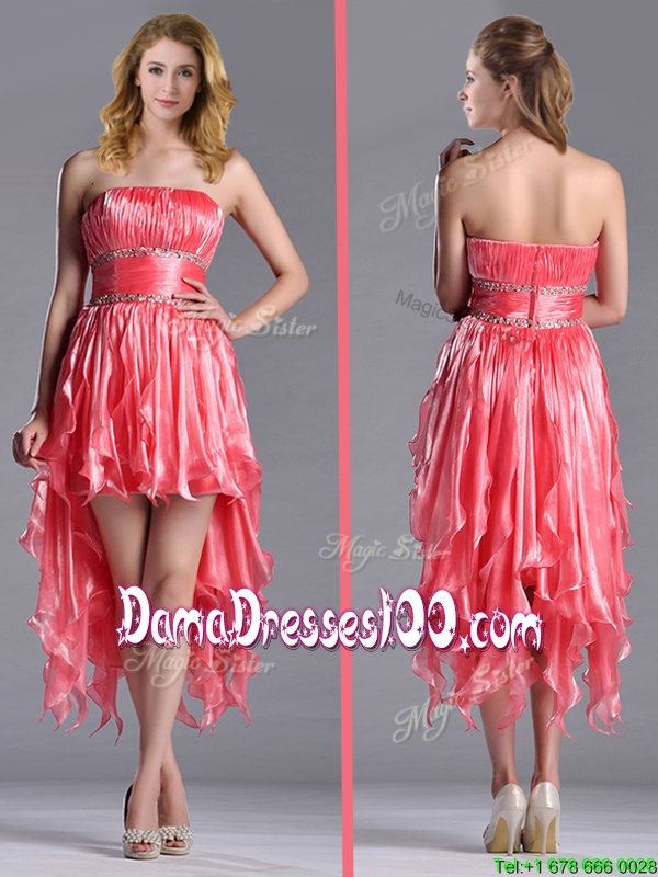 Strapless High Low Beaded Decorated Waist Dama Dress in Coral Red