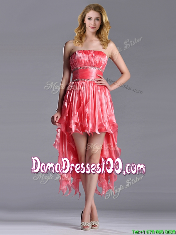 Elegant Strapless High Low Beaded Decorated Waist Dama Dress in ...