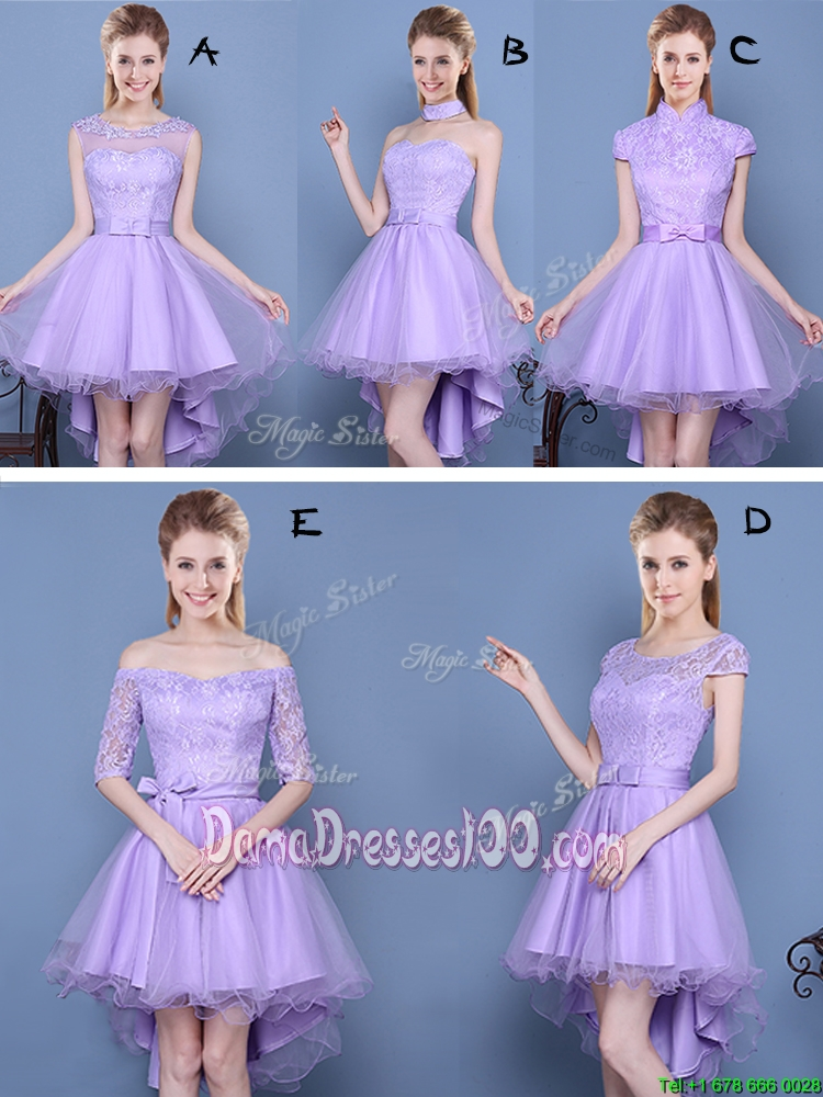 Cheap Laced and Bowknot High Low Lavender Dama Dress in Tulle and Taffeta