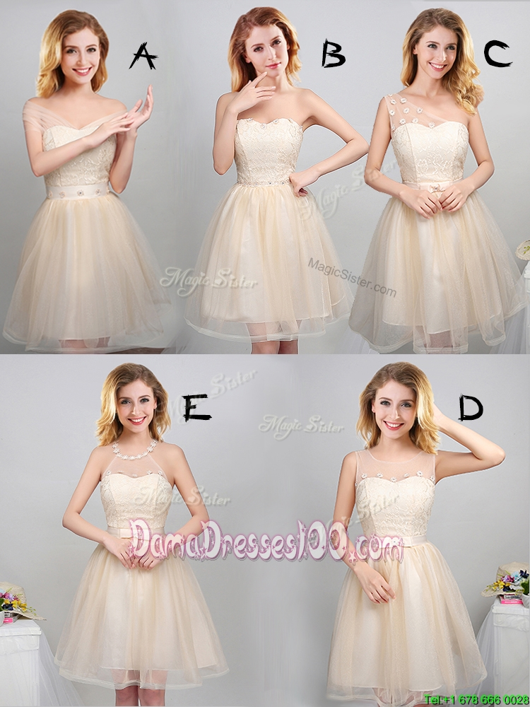 Fashionable Tulle Champagne Short Dama Dress with Laced Bodice and Appliques