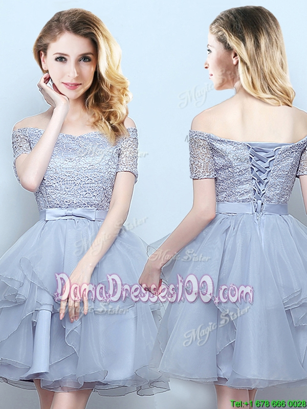 Hot Sale Off the Shoulder Ruffled and Laced Bodice Dama Dress with Short Sleeves