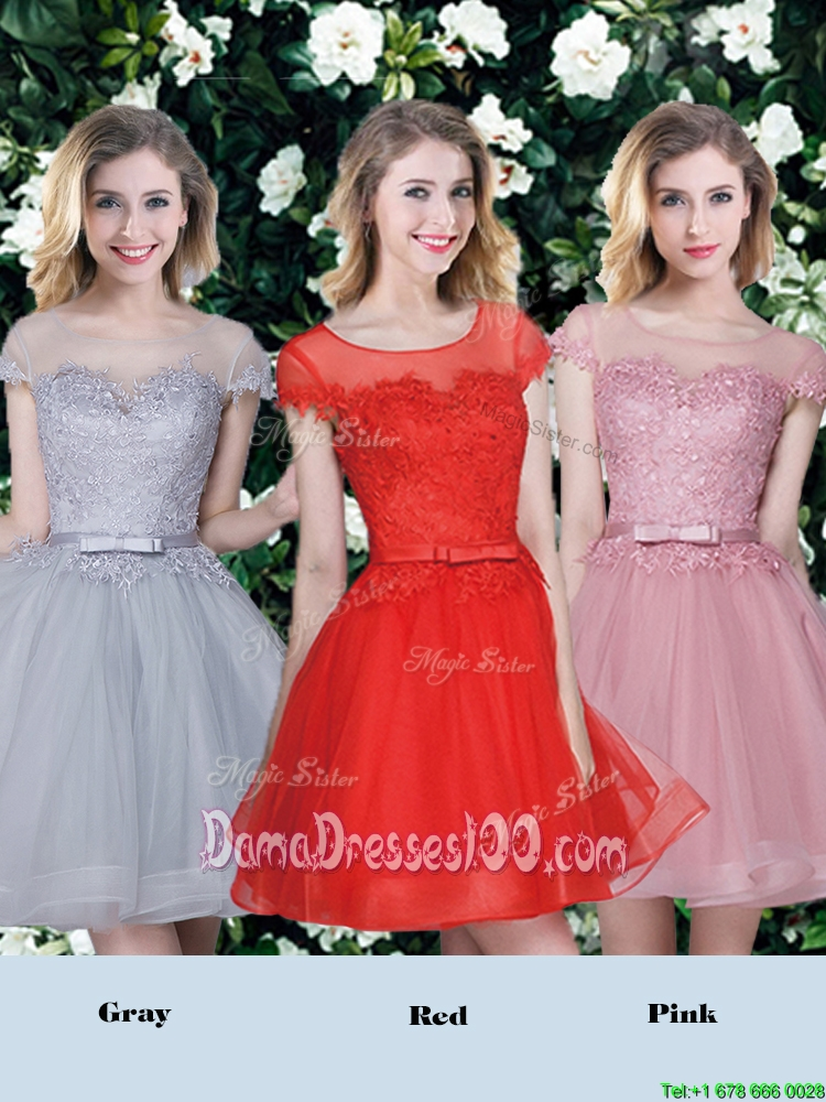 Perfect See Through Scoop Applique and Belted Dama Dress with Short Sleeves