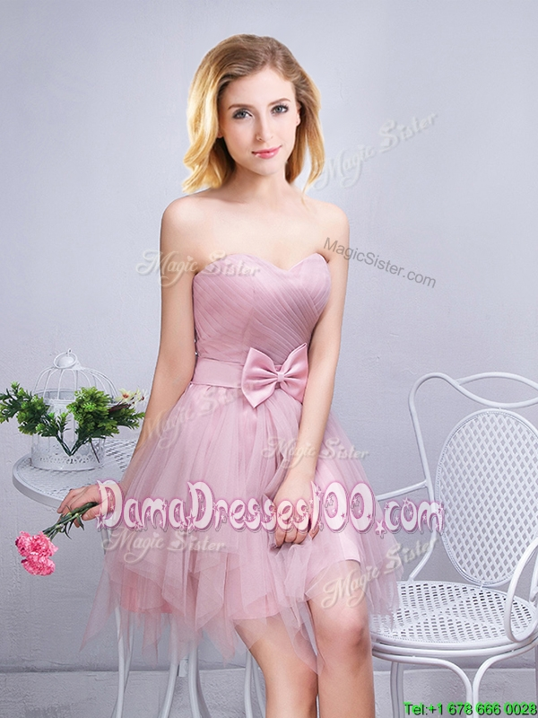 Discount Sweetheart Ruched and Bowknot Pink Short Dama Dress in Tulle