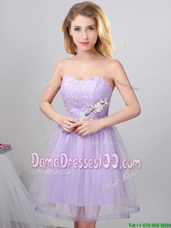 Elegant Sweetheart Princess Laced Bodice Short Dama Dress in Lavender